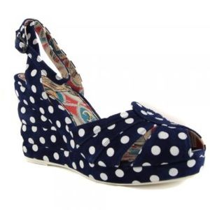 Miss L Fire Tease Navy Polka Dot Wedge Heel Sandal